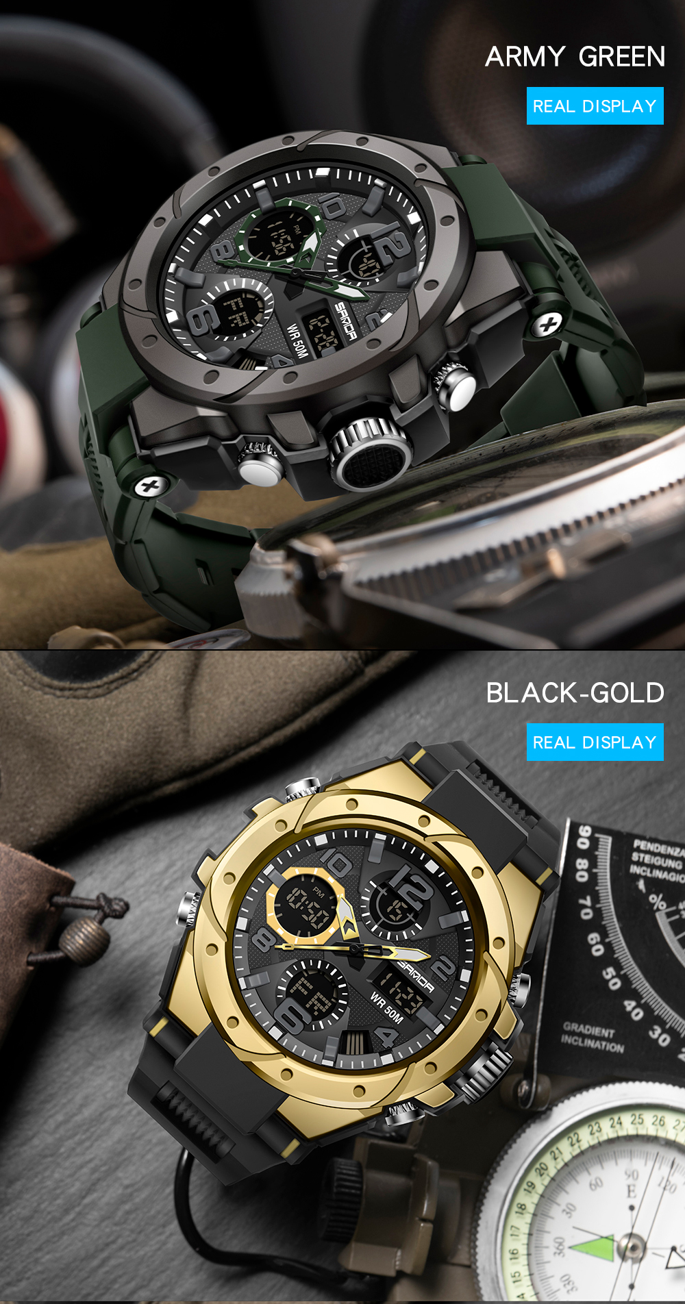 H0c08e6ad28e34c6cbd01f6dab01efd765 SANAD Top Brand Luxury Men's Military Sports Watches 5ATM Waterproof