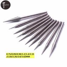 Neue 10Pcs 2,35mm Schaft Diamant Schleifen Kopf 0,75 zu 3,82mm Schleifen Nadel Bit Burr für Metall Glas jade Gravur Carving Werkzeug