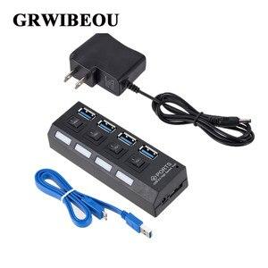 Mini USB HUB 3.0 Super vitesse 5Gbps, USB 3.0 4 Ports, séparateur Portable, Micro USB 3.0, HUB avec adaptateur d'alimentation externe pour PC, Acc