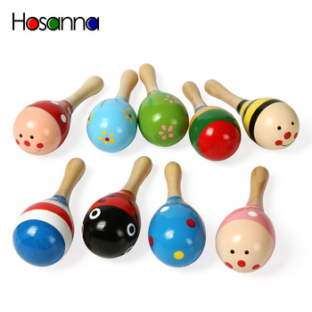 Baby Wooden Hammer Rattle Toys Kids Musical Instruments Child Shaker Cute Colorful Vocal Toys for Children Toddlers Preschooler image