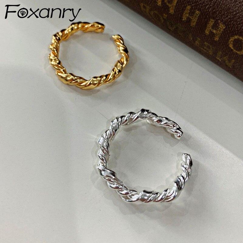 Кольца Foxanry из стерлингового серебра 925 пробы для вечерние и пар, винтажные модные геометрические ювелирные изделия ручной работы, подарок н...