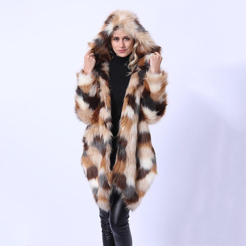 Savabien Asymmetrical Colored Furry Hooded Long Faux Fox Fur Coat 2019 Winter Women Fake Fur Jacket Parka Vintage Female Coats