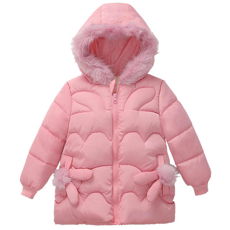 יפה חורף מעיל עבור בנות ילדים חורף מעיל פו פרווה קישוט כותנה הלבשה עליונה חורף חליפה לילדים