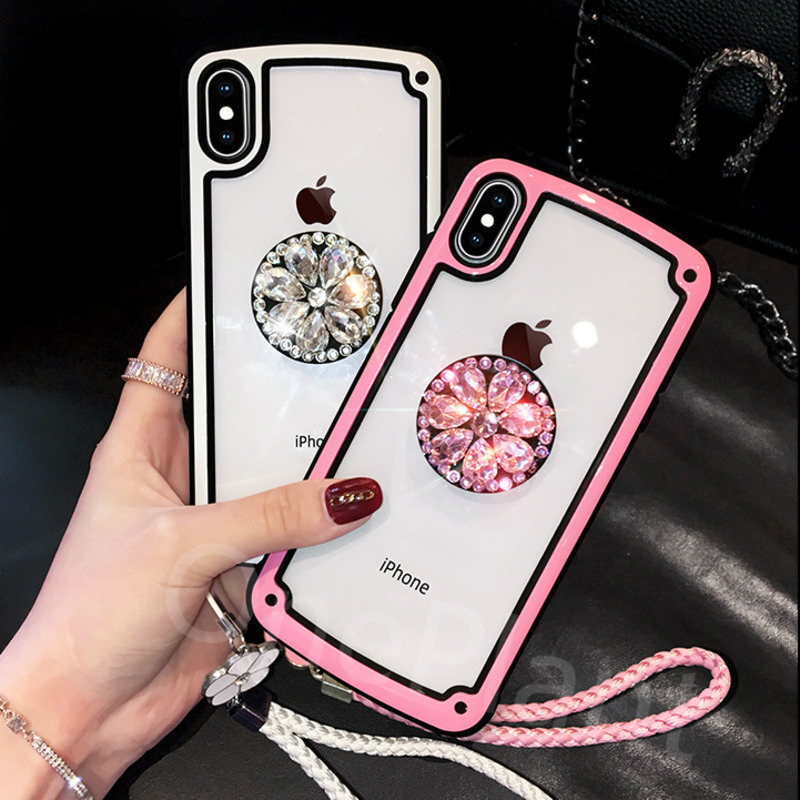 Luxury 3D <font><b>Diamond</b></font> Bracket With Lanyard <font><b>Case</b></font> For iPhone 11 Pro X XR XS MAX 6 7 8 Plus cover For <font><b>Huawei</b></font> P40 Pro P30 <font><b>P20</b></font> Mate 30 20 image