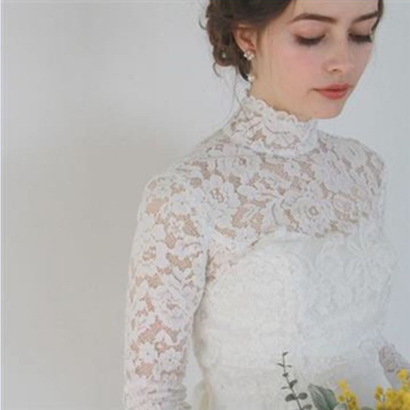 High Neck Lace Appliques Bridal Bolero Shawl Wedding Accessories Wedding Jacket Shrug Custom Made Long Sleeve Bridal Coat