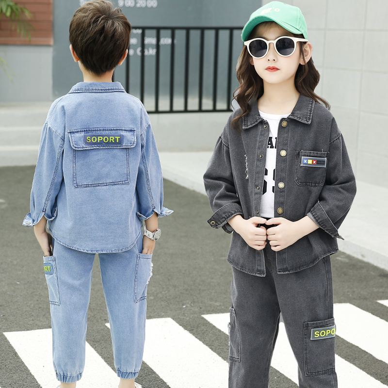 Fall Kids Boys Girls Long Sleeve Denim Jacket Autumn Outfit Sports Style Design Teens Clothing
