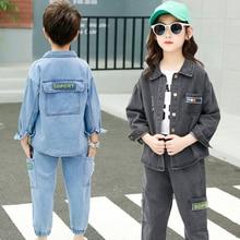 Fall Kids Boys Girls Long Sleeve Denim Jacket Autumn Outfit Sports Style Design Teens Clothing
