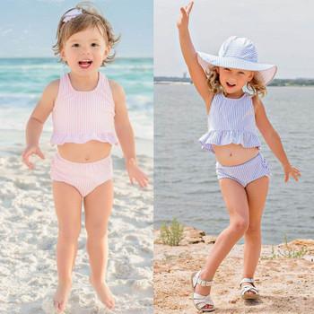 Stroje kąpielowe w paski plażowe dla dzieci chłopców i dziewcząt dwuczęściowy kostium kąpielowy kostiumy kąpielowe bikini kąpielowe Maillot de bain feminino tanie i dobre opinie ARLONEET Poliester Pasuje prawda na wymiar weź swój normalny rozmiar Dziecko dziewczyny Dwa Kawałki polyester Striped
