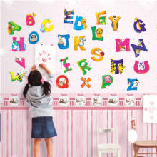 A-Z Alphabet Letters Animals Mural Wall Sticker for Kids Room Decals Nursery Bedroom Decor School Classroom Background Inall(China)