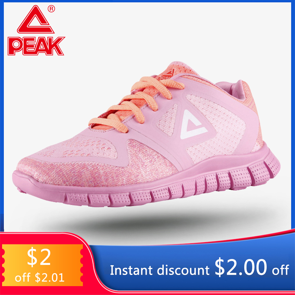 PEAK Women's Running Shoes Comfort Fitness Sneakers Soft Light Sole Wearable Breathable Mesh Upper Sports Shoes EW7170H