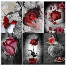 Алмазная вышивка с бабочками, черно-красная 5D алмазная живопись, роза, цветок, полноразмерная мозаика, Набор для вышивки крестиком, домашний...