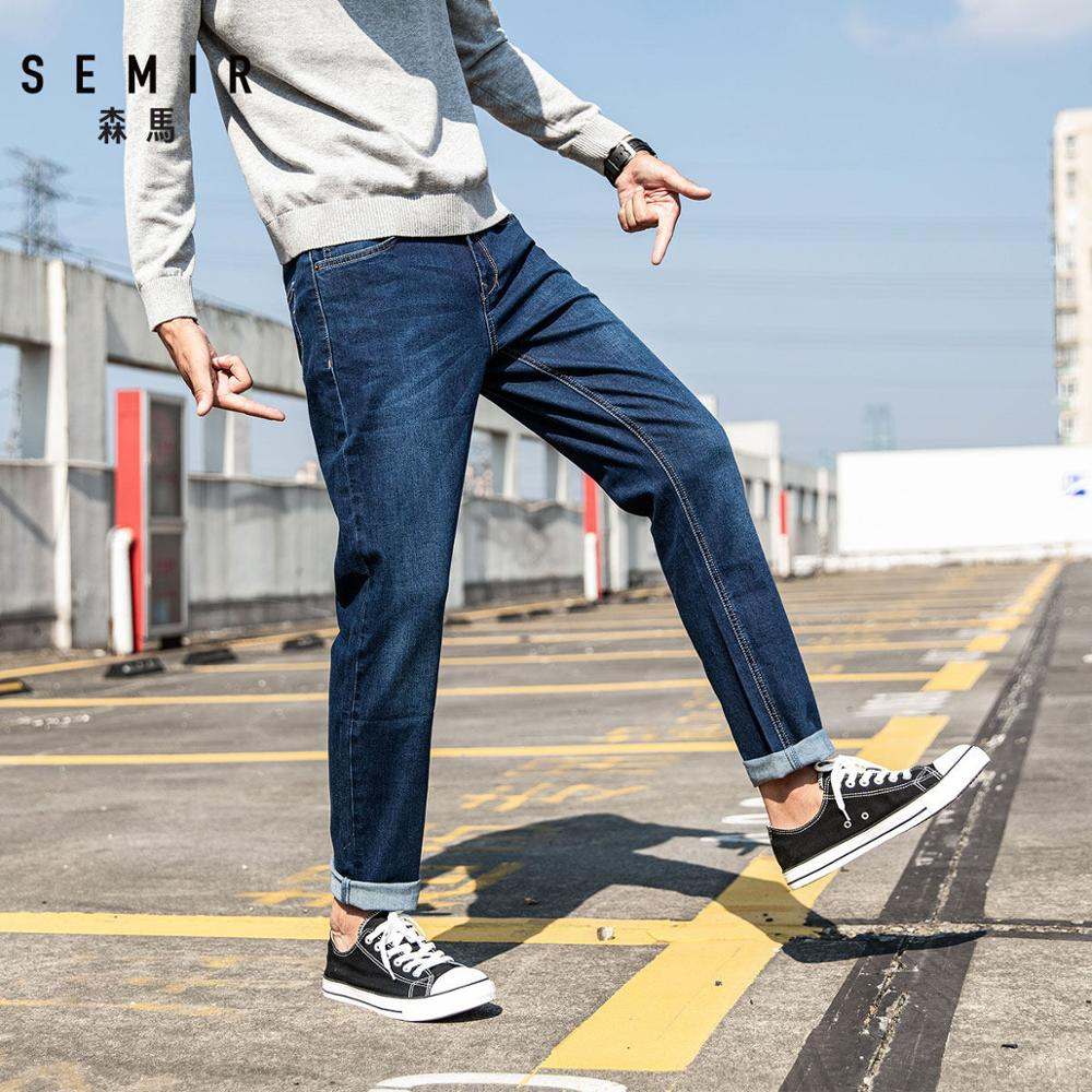 SEMIR Jeans Trousers Pants Slim-Fit Classic Elasticity Male Designer Straight Casual
