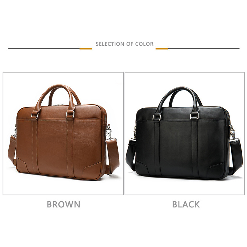 WESTAL Business Men's Briefcase Men's Bag Genuine Leather 14 Inch Laptop Bag Leather Briefcases for Document Office Bags for Men