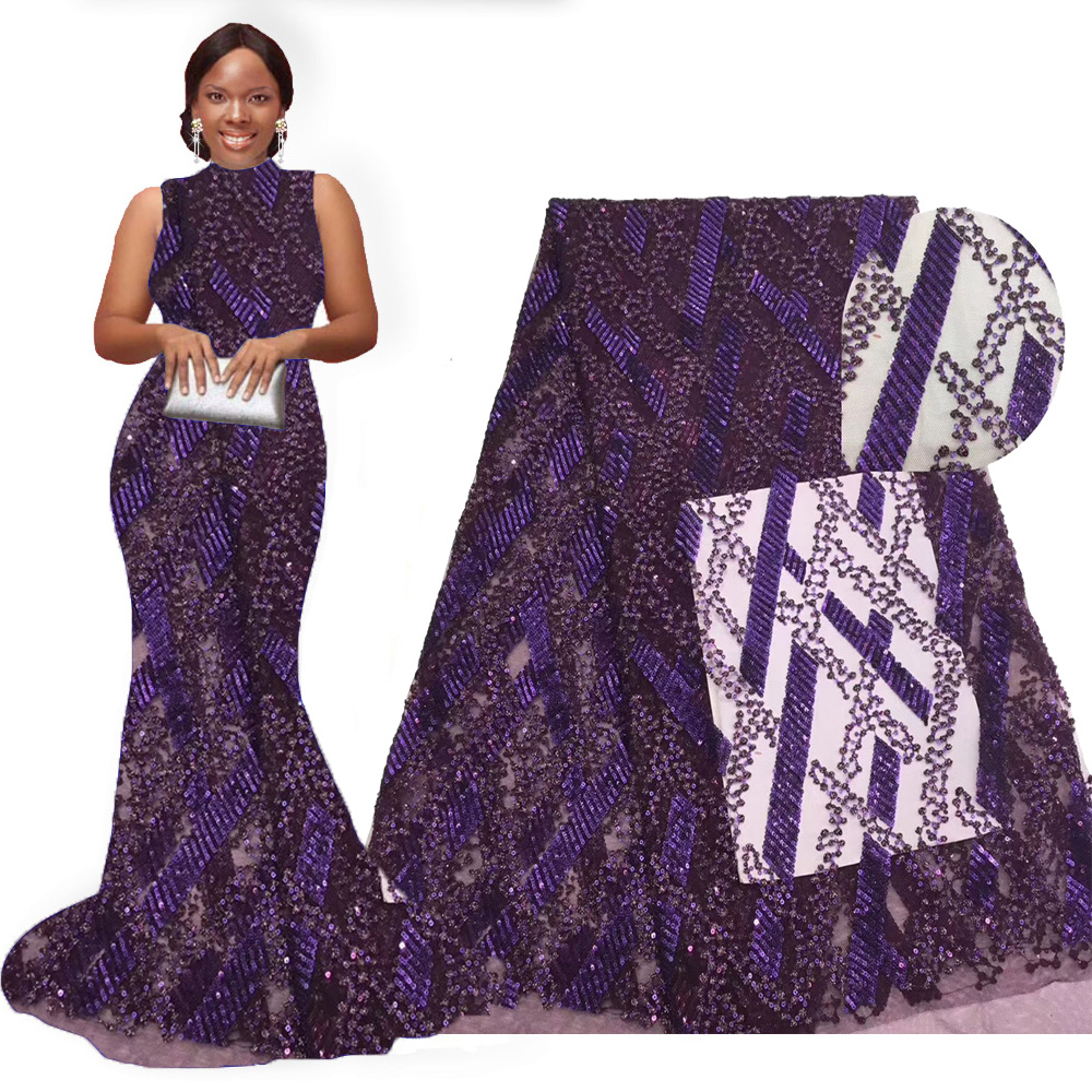 African lace fabric 2019 high quality lace deep purple embroidered sequin lace fabric 5 yards nigerian women wedding dress lace