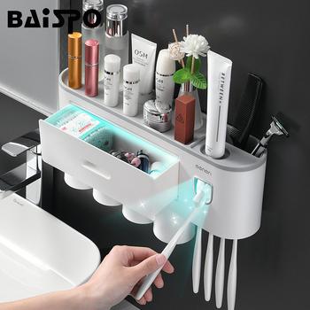 BAISPO magnetyczny uchwyt na szczoteczki do zębów akcesoria łazienkowe automatyczny dozownik pasty do zębów dozownik do domu zestawy łazienkowe przechowywanie tanie i dobre opinie Z tworzywa sztucznego Bathroom Accessories Sets Ekologiczne Zaopatrzony Dwuczęściowe Gray + White 920g Magnetic Toothbrush Holder