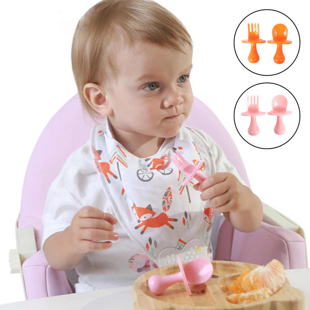 เด็กอุปกรณ์ให้อาหารช้อนส้อมชุด Case เด็กวัยหัดเดินทารก Easy Grip ทนความร้อนเด็กให้อาหารการฝึกอบรมช้อน