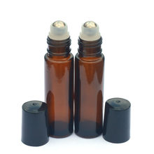 Rolo de âmbar na garrafa de vidro 10 ml, fragrância vazia, perfume, óleo essencial, 3 pçs garrafa de tampa de plástico preto