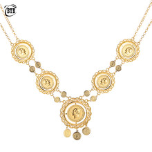 Collar largo de monedas para mujer, joyas con monedas musulmanas árabes, Color dorado, Lira de Turquía, Oriente Medio, Egyption