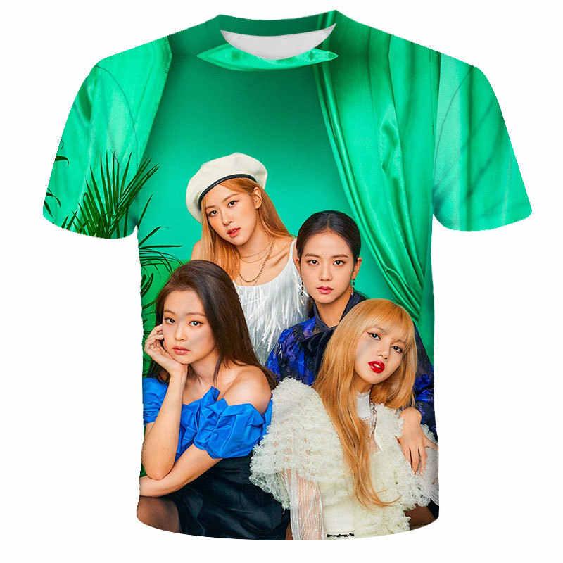Blackpink combinando roupas de família kpop lisa rosa 3d engraçado mãe e filha pai crianças menino roupas da menina t camisa transporte da gota