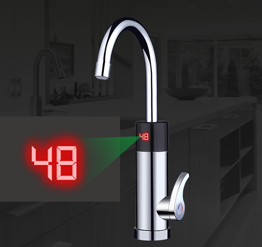 3000W Silver Electric Instant Hot Tankless Electric Heater Sink Hot Tap Faucet Hot & Cold Temperature Display Bottom Water Inlet