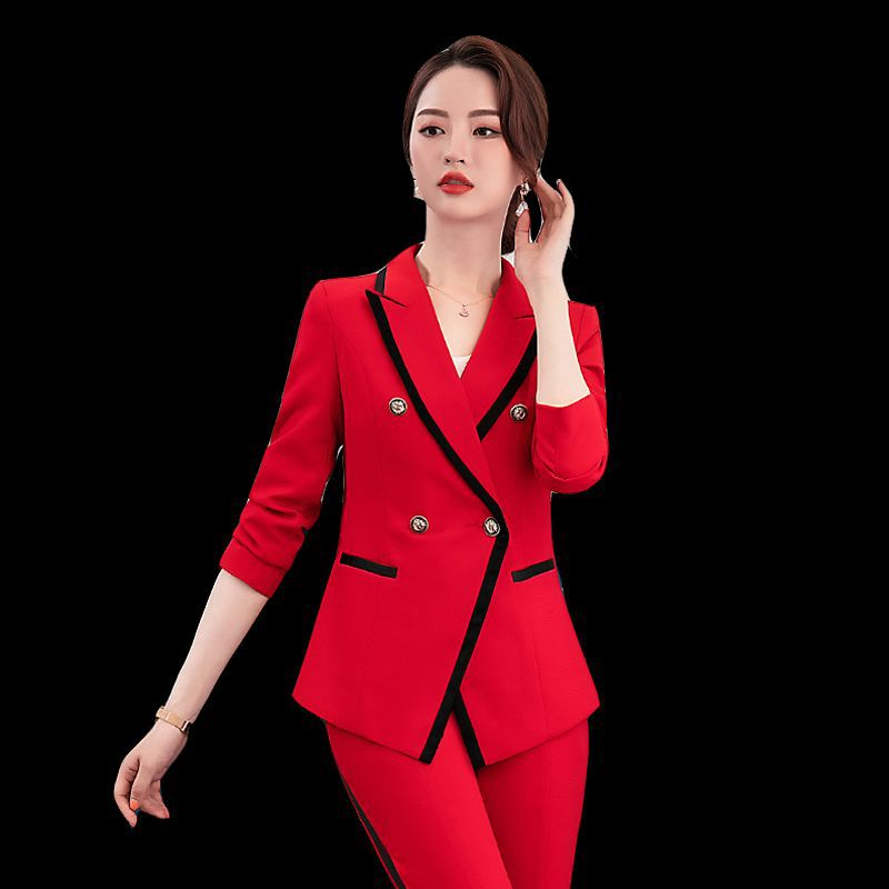 female elegant womens tops and blouses blazer Pants Jacket Suits shirt sets business lady suit office trouser costumes set Red