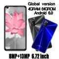 6,72 zoll Smartphones A41 4G RAM + 64G ROM Quad Core 8MP + 13MP HD Vorne/Zurück kamera Android Handys Celuares Gesicht ID Entsperrt