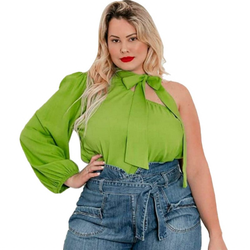 4XL Plus Size Women T Shirt Lace Up Stand Collar Sexy One Shoulder Tops Fashion New Solid Elegant Streetwear Female Tunic Blouse