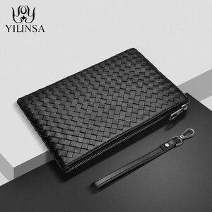 YILINSA 100% en peau de mouton véritable pochette en cuir hommes portefeuille avec dragonne créateur de mode doux grande capacité sac à main de luxe