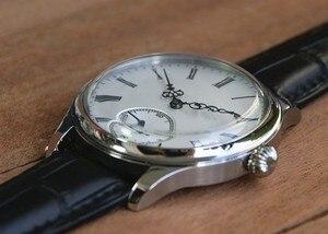 Image 4 - 44mm GEERVO espelho convexo branco dial Asian 6497 17 jewels movimento Do Vento Mão Mecânica relógios relógio Mecânico dos homens gr313 g8