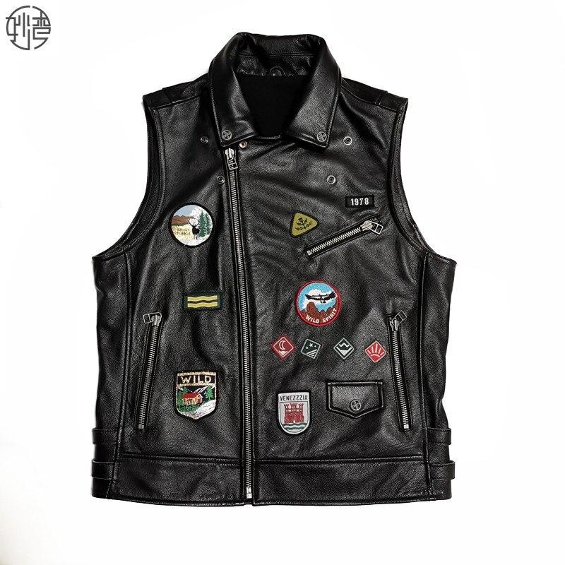 2020 черный мужской облегающий мотоциклетный кожаный жилет большого размера XXXXL из натуральной воловьей кожи осенний Байкерский кожаный жил
