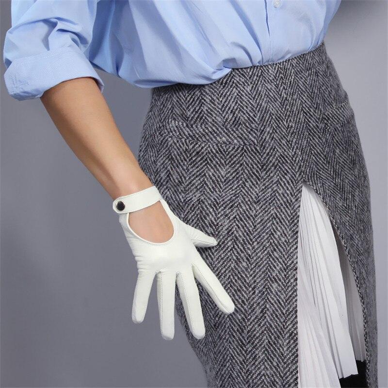 Touchscreen White Genuine Leather Gloves 19cm Pure Sheepskin Locomotive Hand Back Short Style Snap Button Silk Lining WZP03