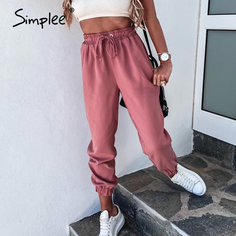 Simplee Solid color lace up women's Harlem pants Casual sports loose home pants Street pink polyester pants new summer 2020|Pants & Capris| - AliExpress