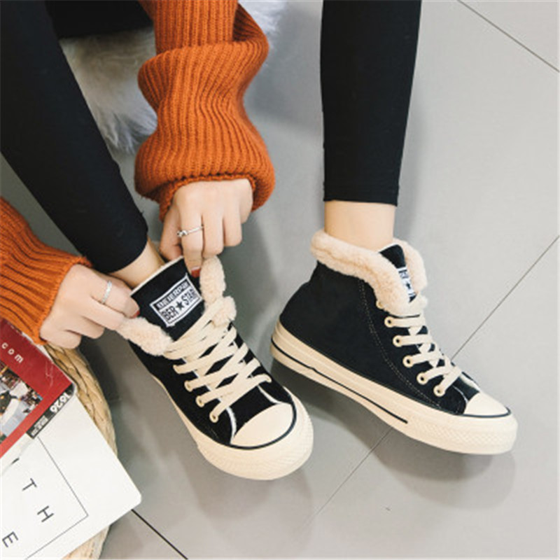 New Women Winter Fur Ankle Snow Boots Comfortable Thick Plush Keep Warm Sneakers Ladies Flock Platform Cotton Shoes Botas Mujer