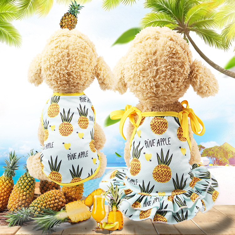 Fashion Pineapple Pattern Pet Skirt Couple Models Puppy Cat <font><b>Dress</b></font> Vest Spring /summer Pet Clothes Supply image