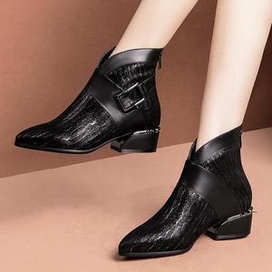 Image 5 - Allbitefo natural de pele carneiro vaca couro genuíno tornozelo botas marca moda menina botas venda quente outono inverno casual botas femininas