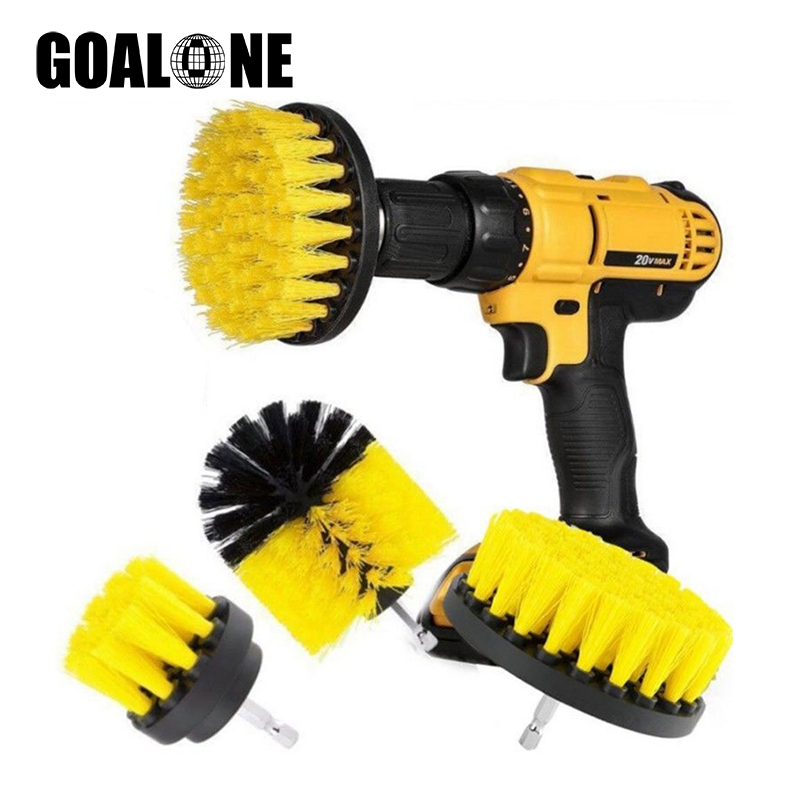 GOALONE 5Pcs/Set Scrub Brush Drill Attachment Kit Power Scrubber Cleaning with Extender for Bathroom