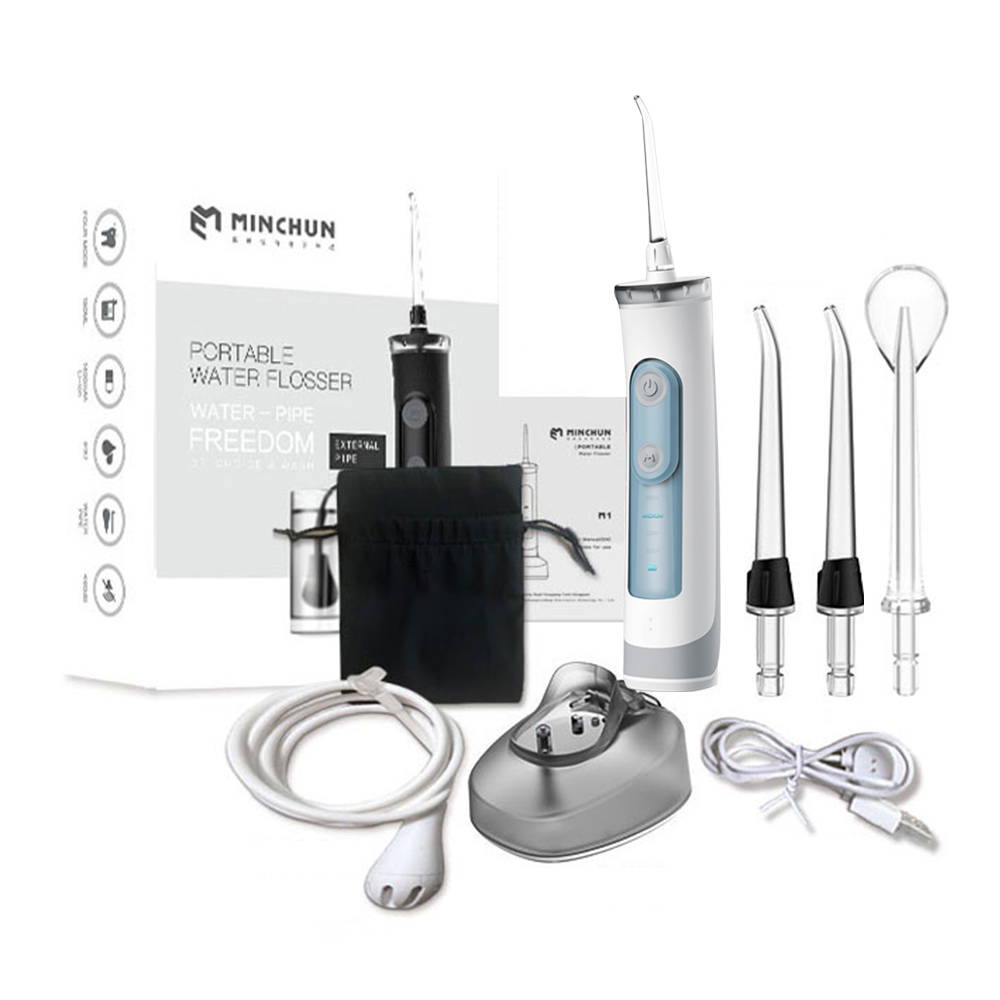Water Flosser Cordless Oral Irrigator with 4 Modes 2 Nozzles for Teeth Cleaning IPX7 Portable Electric Water Flossing Device