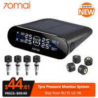 70mai Smart Car TPMS, Monitor de alarma de presión de neumáticos con energía Solar, sistema de alarma de seguridad para coche, Sensor externo, alerta de presión de neumáticos