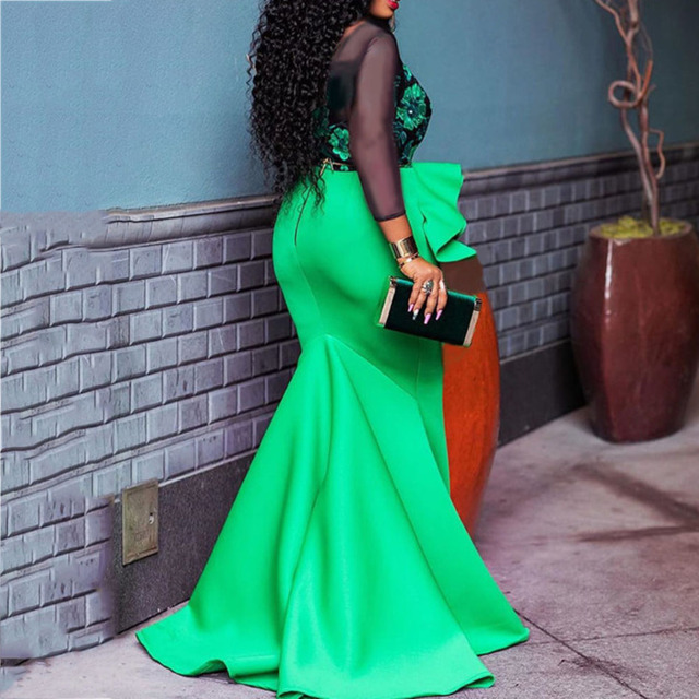 African Ladies Plus Size Bodycon Long Party Mermaid Dress Sexy Transparent Mesh Ruffles Women Wedding Evening Maxi Dress Trumpet 2