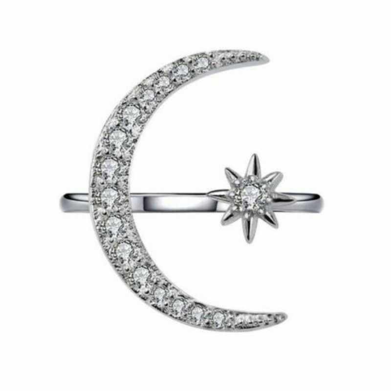 Женское регулируемое полумесяц и кольцо со звездами серебристо-белые вечерние ювелирные изделия