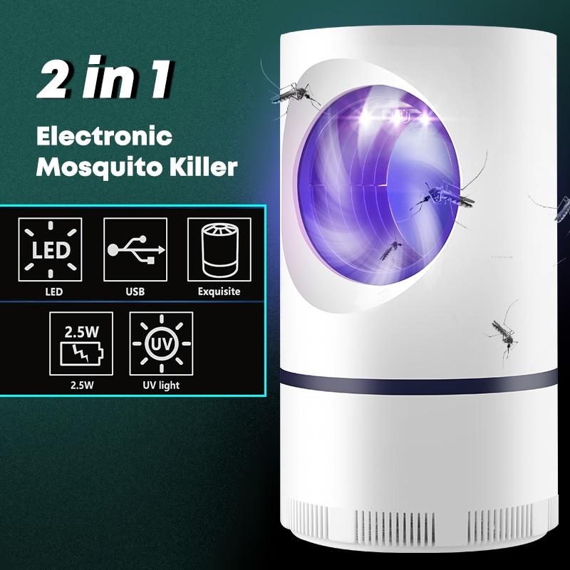 Электрическая USB-лампа для уничтожения насекомых, приманка для комаров, УФ-лампа для отпугивания мух, уличный бесцветный, без радиации, без з...