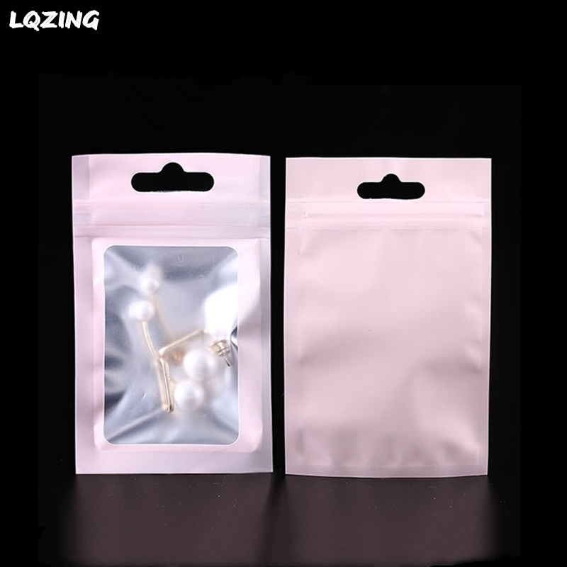 40Pcs Colorful Matte Clear Aluminum Foil Zip Lock Grocery Packaging Bag with Hang Hole Pink Crafts Sundries Mylar Packing Pouch