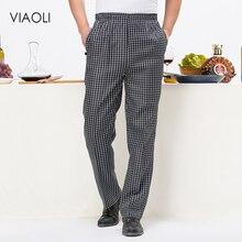 цена на VIAOLI hotel cooker uniform pant chef work clothes restaurant Stripe semi-elastic trousers work clothes zebra pant kitchen pant
