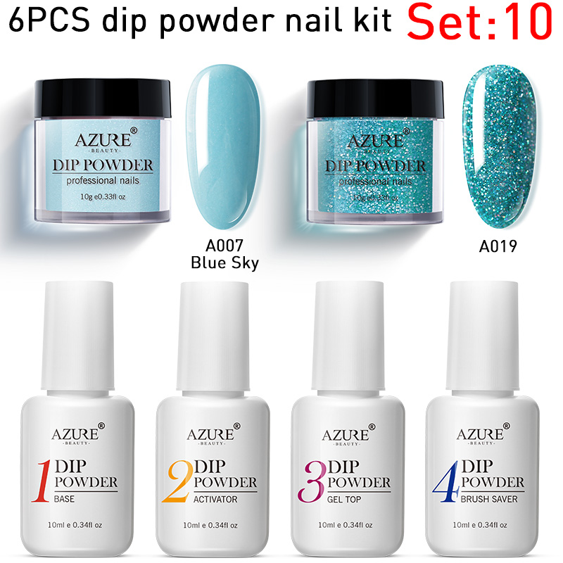 Azure Beauty 6PCS/LOT Gradient Shiny Color Dipping Powder Nail Art Dip Powder Kit Base Coat Top Gel Glitter Nail Powder Set