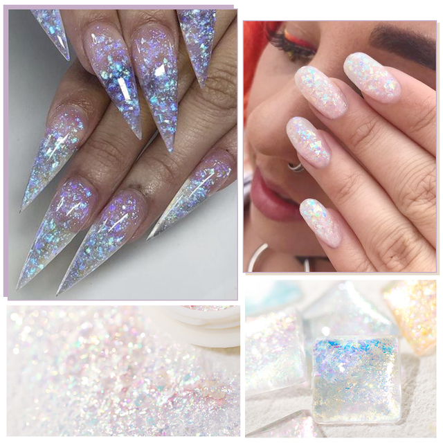 Crystal Fire Opal Flakes Nail Sequins Purple Holographic Glitter DIY Chrome Powder for Spring Nails Manicure Paillettes GL1857 6