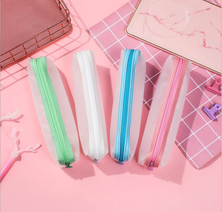 4 PCS/ SET Transparent Pencil Bag Simple Kawaii Cute Solid Color Storage Case for Pens Stationery Office School Student
