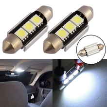 10PCs LED C5W 5050 3 Smd 3SMD 36mm 39mm DC 12V Festoon Interior Dome Door Light Free Lamp Turn Signal Bulb Car Styling