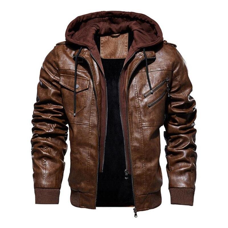 Новая осенне зимняя мужская кожаная мотоциклетная куртка с капюшоном теплая бейсбольная куртка из искусственной кожи большой размер M 4XL мужская кожаная куртка-in Пальто из искусственной кожи from Мужская одежда