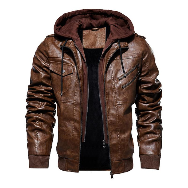 New Autumn Winter Men's Leather Motorcycle Jacket PU Hooded Jacket Warm PU Baseball Jacket Large Size M-4XL