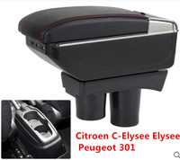 BIG SPACE+LUXURY+USB armrest Storage content box stowing tidying FIT FOR Peugeot 301 NEW citroen c Elysee 2012 16